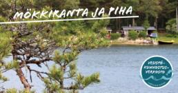 Kuvassa ranta ja mökkimaisema, päällä teksti