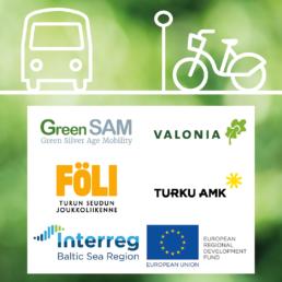 Kuvassa vihreä tausta, päällä ikonikuva bussista ja kaupunkipyörästä ja logot: valonia, GreenSAM, Föli, TurkuAMK ja Interreg EU.