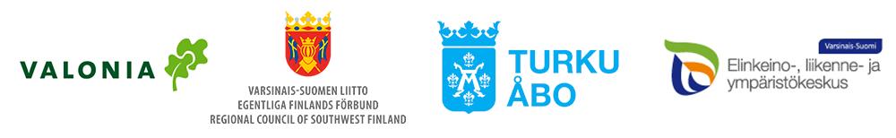 Logot: Valonia, Turku, Varsinais-Suomen liitto, Varsinais-Suomen ELY-keskus