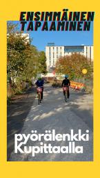 Teksti: ensimmäinen tapaaminen, pyörälenkki kupittaalla. Kuvassa kaksi pyöräilijää kypärät päässä ja maskit kasvoillaan.