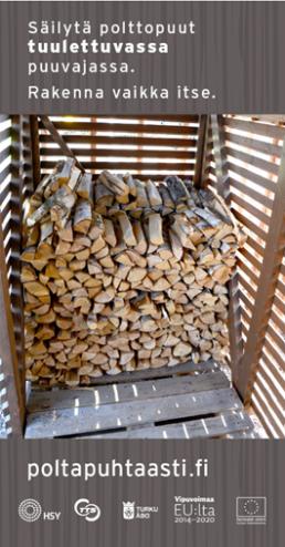 Puut säilyvät parhaiten kuivina hyvässä puuvajassa, joka suojaa puita sateelta ja jossa ilma pääsee kiertämään lattian, seinien ja katon raoista. Klikkaa kuvaa lukeaksi säilytysvinkkejä.