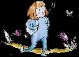 Piirroskuva viheltelevästä, reppu selässä kävelevästä lapsesta.