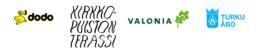 Kaupunkiviljelyä Turun Tuomiokirkkopuistossa järjestävien tahojen logot: Dodo ry, Kirkkopuiston Terassi, Valonia ja Turun kaupunki.